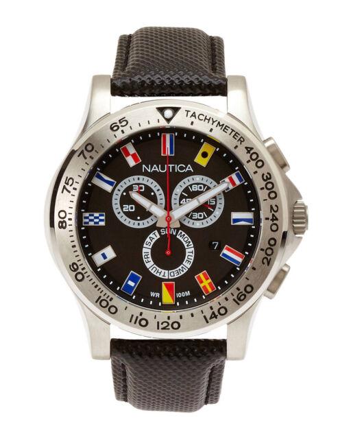 Men's Black Nautica NST Chronograph Flag Watch N19595G