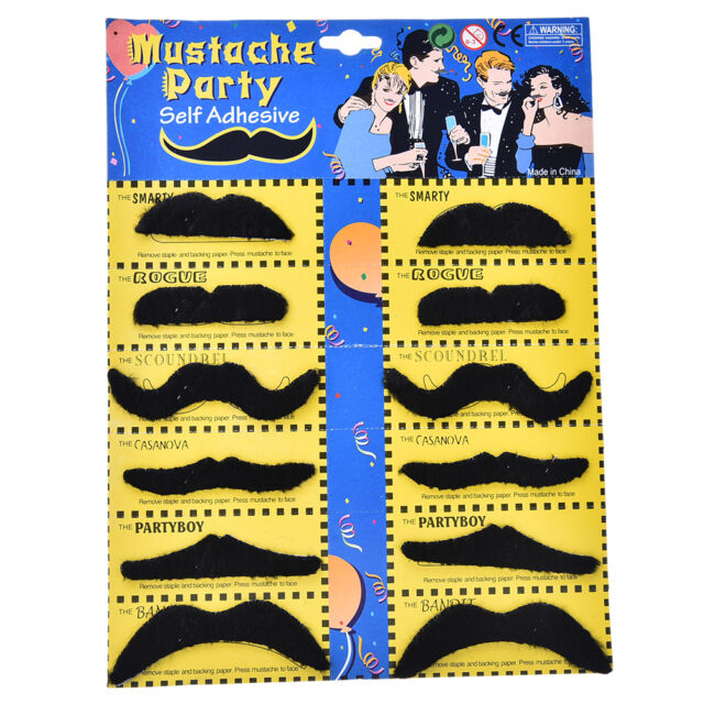 12pcs/set Costume Party Halloween Fake Mustache Funny Fake Beard Whisker H&T J+Q
