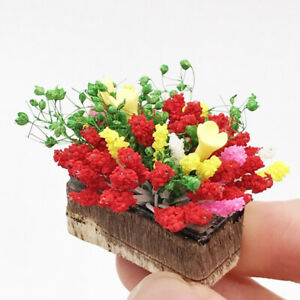 1-12-Dollhouse-miniature-plant-multicolor-flower-with-wood-pot-garden-accessoS