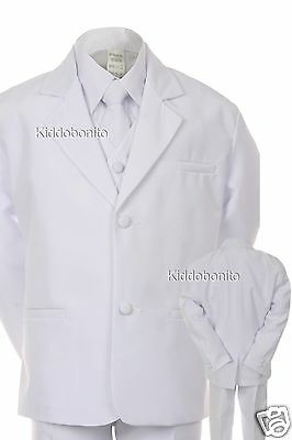 BABY KID TEEN BOY WEDDING 1ST COMMUNION BAPTISM FORMAL SUIT WHITE S-20 0M-18YRs