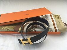 """Authentic Hermes Lot Of 3 """"Harnais  A L'anglais"""" Scarf, """"H"""" Buckle And Navy Belt"""
