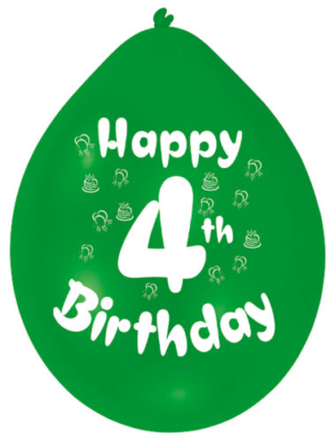 Happy 4th Birthday AGE 4 Party Balloons Banners Badges /& Decorations Helium GIRL