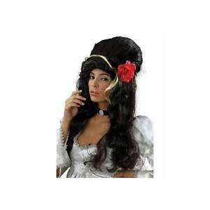 Amy-Winehouse-Theme-Black-Rehab-BEEHIVE-Rose-WIG-amp-FREE-TATTOO-039-s-Fancy-Dress
