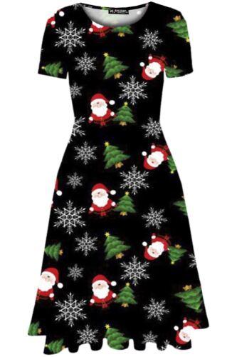 Womens Ladies Christmas Xmas Santa Wall Reindeer Party Midi Swing Skater Dress