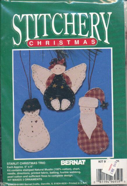 c Kit Makes 3 Christmas Sacks Christmas Project Christmas Bags Spirit of Christmas 1993 Vintage Bernat CROSS STITCH KIT