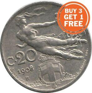 Moneda-de-20-Centesimi-italiana-de-1908-a-1922-eleccion-de-fecha-de-Italia
