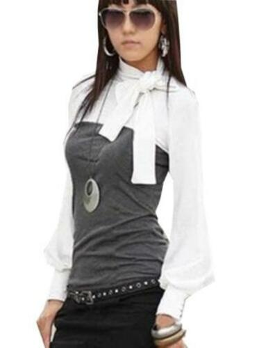 Damen Bluse langarm Tunika Shirt Ballonärmel Schluppenbluse Schleife 34 36 38 40