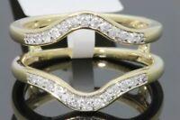 10k Yellow Gold Solitaire Enhancer .28 Ct Diamond Ring Guard Wrap Wedding Band