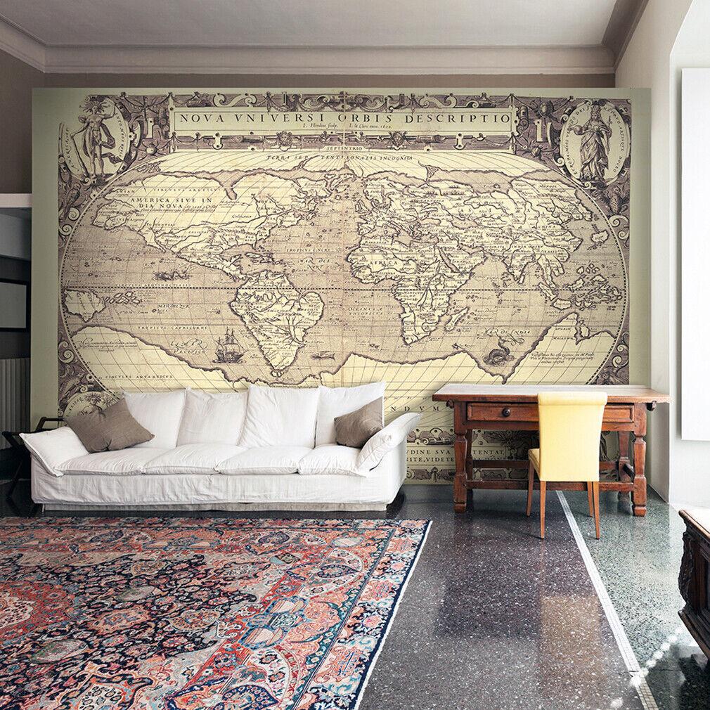 VLIES FOTOTAPETE Weltkarte vintage braun Map TAPETE WANDBILDER XXL Wohnzimmer 21
