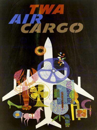 TWA AIRLINE AEROPLANE AIRPLANE TRANSPORT USA VINTAGE ADVERTISING POSTER 1557PY