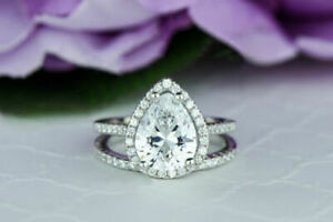 1.60 Ct Pear Cut Real Moissanite 14K Engagement Band Set Solid White Gold Size 6