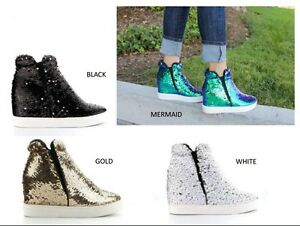 eff05f05b743 Womens Fashion Sneaker Ankle Booties Sequin High Top Hidden Wedge ...