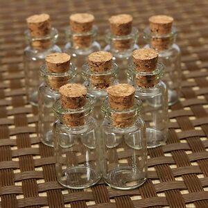 10/20/30PC Mini Small Tiny Clear Cork Stopper Glass Bottles Vials Jars Wholesale