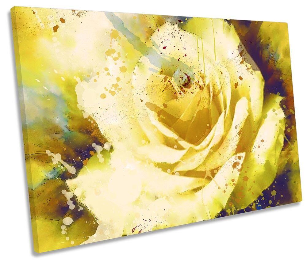 rosado Amarilla Impresión Floral Abstracto Enmarcado SINGLE SINGLE SINGLE LONA parojo arte 25bde6