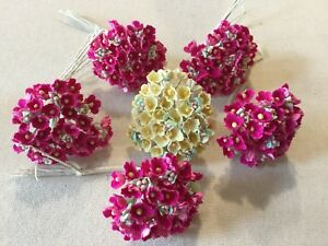 Vintage-Millinery-Flower-Forget-Me-Not-6-bunch-rich-Pink-soft-Yellow-Kawaii-RY1