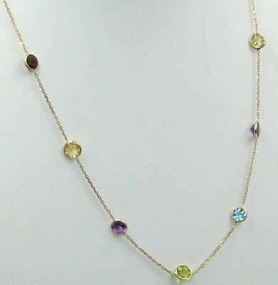 Multicolor 5mm Gemstones 16 Inches Necklace 14k Yellow Gold Chain by the yard