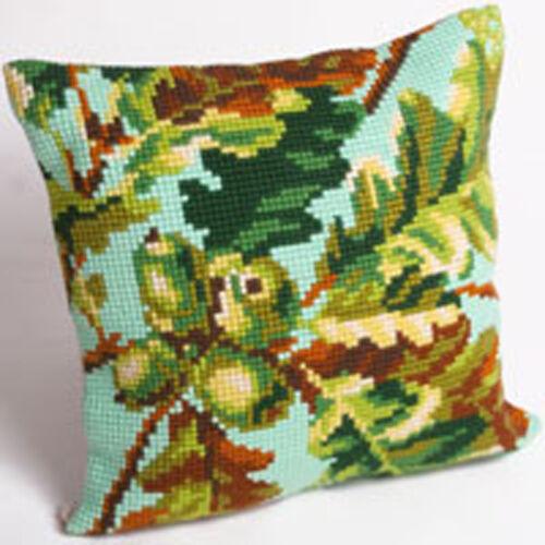 Chunky Cross Stitch Cushion Front Kit  Collection D/'Art Autumn Acorns 40x40cm