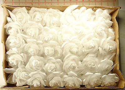 """60 vintage pretty white fabric roses on wire with 2 leaves 3"""" bridal decor T511"""