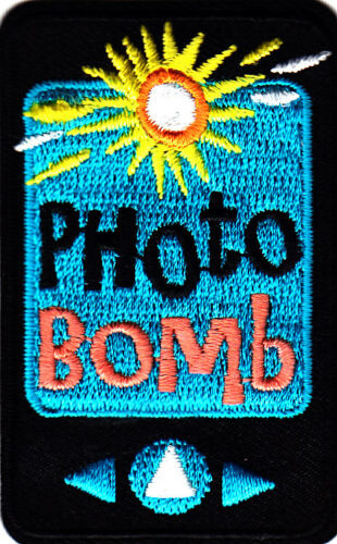 "/""PHOTO BOMB/""-  Iron On Embroidered Patch -Words Photographs Jokes Fun"