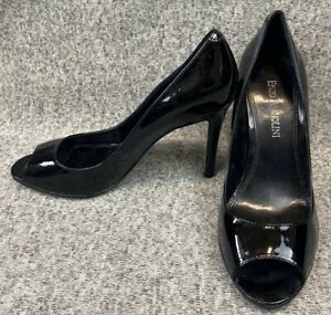 Enzo Angiolini EAMERRYANN Patent Leather Black Peep Toe Pump Size 5M 5 Stiletto