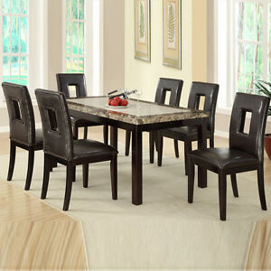 Modern 7 Pc Brown Faux Marble Table Espresso Bycast
