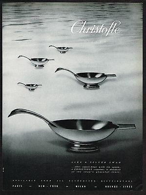 1961 Vintage Christofle Silver Sauceboat Silverware Photo Print Ad