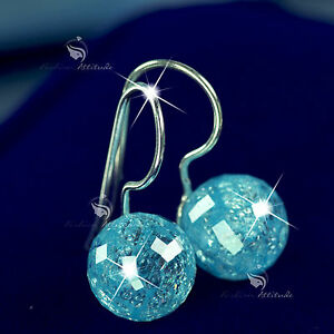 b6547cbac solid sterling 925 silver 10MM sky blue natural crystal ball drop ...