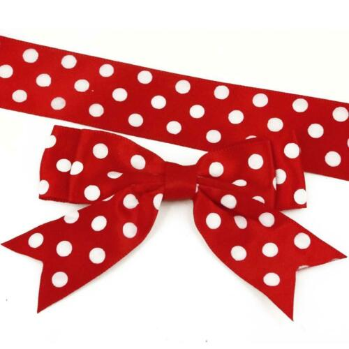 85mm Red /& White Spotty Double Bows Ribbon Bows with tails also Ribbon to match