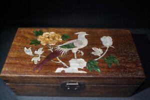 Collect Boxwood hand Inlay Conch flower bird art Usable Precious big Jewelry Box