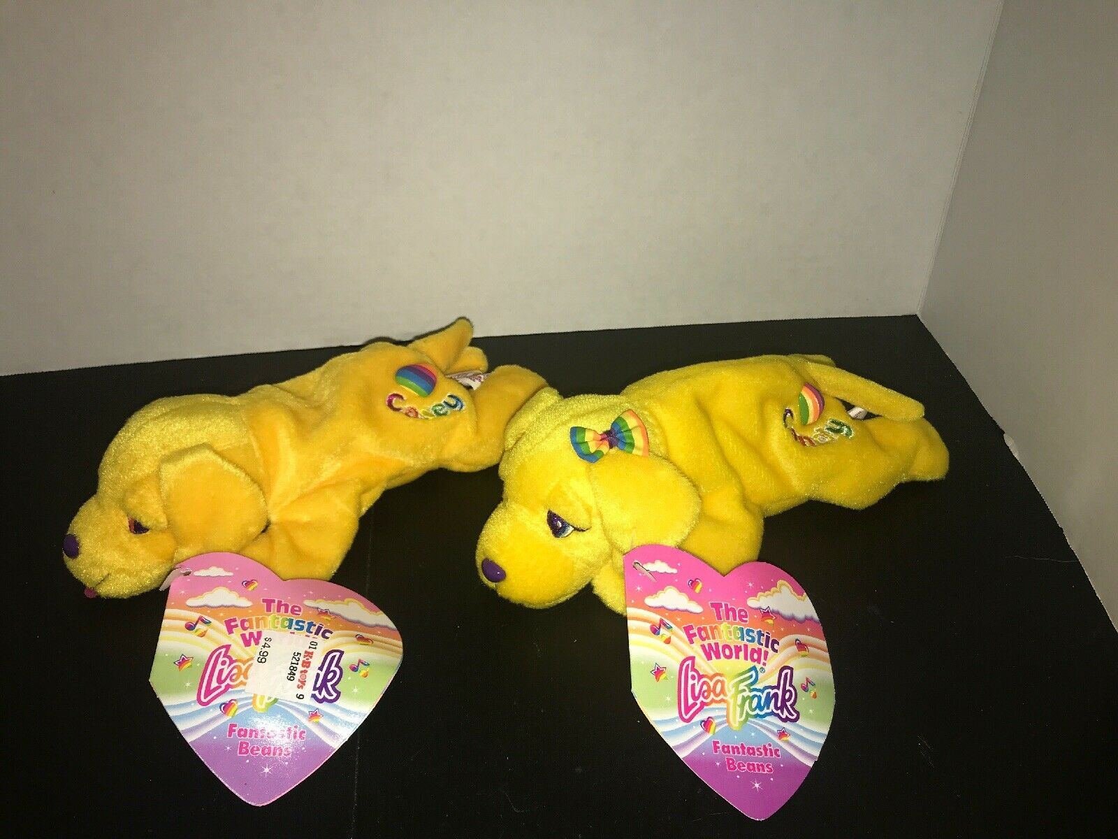 NEW NEW NEW 1998 Lisa Frank Candy & Casey 8  Plush Bean Bag Yellow Girl Puppy Dog a61445