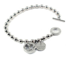 Gucci Boule Chain and Charms SZ17 Sterling Silver O Toggle Bracelet YBA390954001