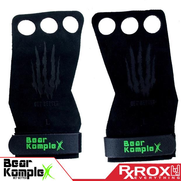 Bear Komplex Grip   3 Fori Neri in Pelle Scamosciata     Crossfit Pull-Up Guanti da Palestra
