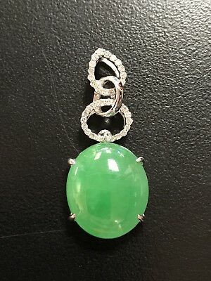 18K White Gold Diamond Green Jade Oval Pendant *No Reserve*