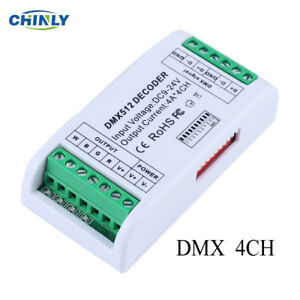 Details about 4CH DMX512 LED Decoder 4 Channels Mini Controller with  Plastic Box for LED Strip