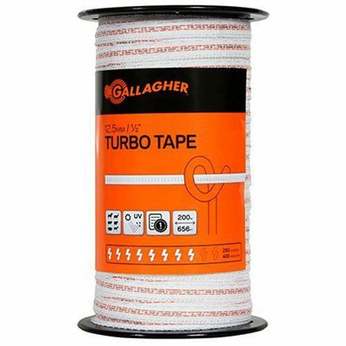 Gallagher G623544 Electric Fence1/2-Inch Turbo Tape, 656-Feet, WEISS