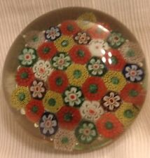 """Vintage Millefiori Paperweight Glass Art Red Green Blue Yellow Floral 2"""" Multi"""