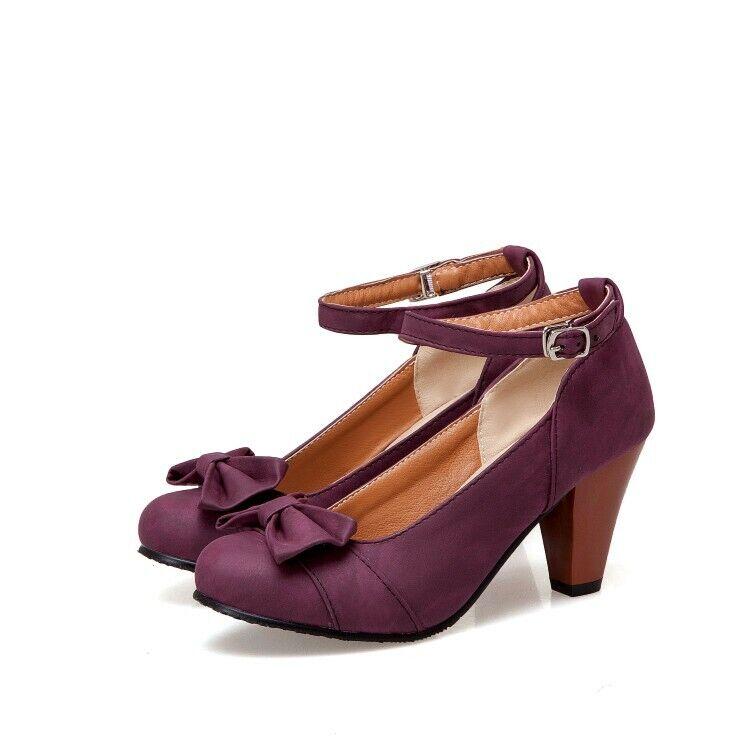 Ladies Heels shoes Suede Solid color Ankle Strap Kitten Block Heels Women Retro