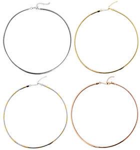 Collier Damenkette Edelstahl Damen Omega Halsreif Roségold Gold Silber 45cm 50cm