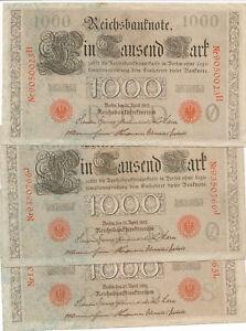 1000 Mark 1910 3 Stück Banknoten Geldscheine Deutsches Reich gebraucht IV