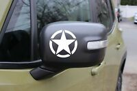 Jeep 2x Us Star Army Military Matte Black White Car Mirror Decal Sticker 3m Usa