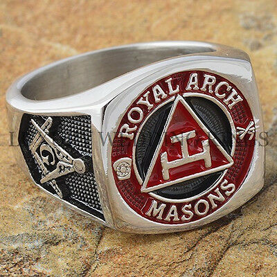 Men's Masonic Ring York Rite Royal Arch Mason Degree Freemason Signet Size 9-15