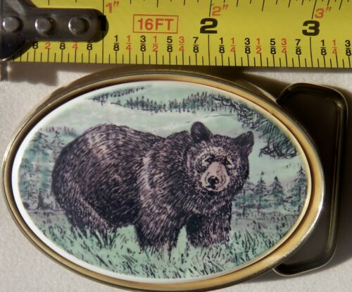 Belt Buckle Barlow Traditional Brass Photo Reproduction in Color Bear 590618c