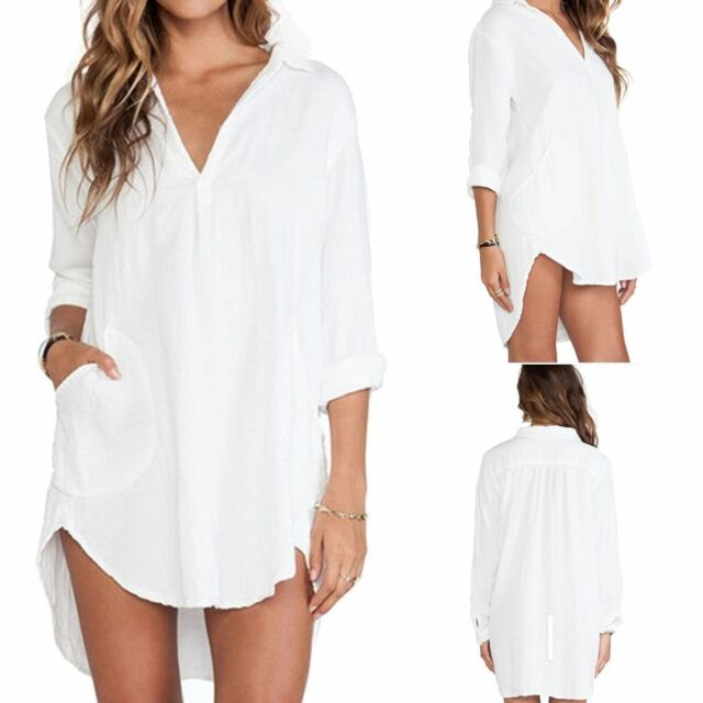 Women Long Sleeve Tunic V Neck Loose Tops Casual Tee Sexy T-Shirt Summer Blouse