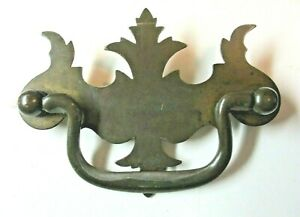 """Drawer 1900 Drop Bail Pull Handle 3"""" Centers Dark Aged Brass Steel 1 Chippendale"""