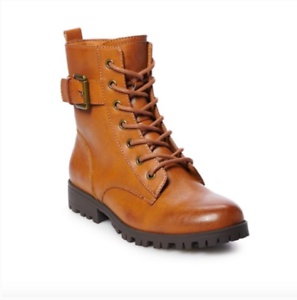 SO Broccoli Combat Boots Brown Size 7.5W Almond Toe women