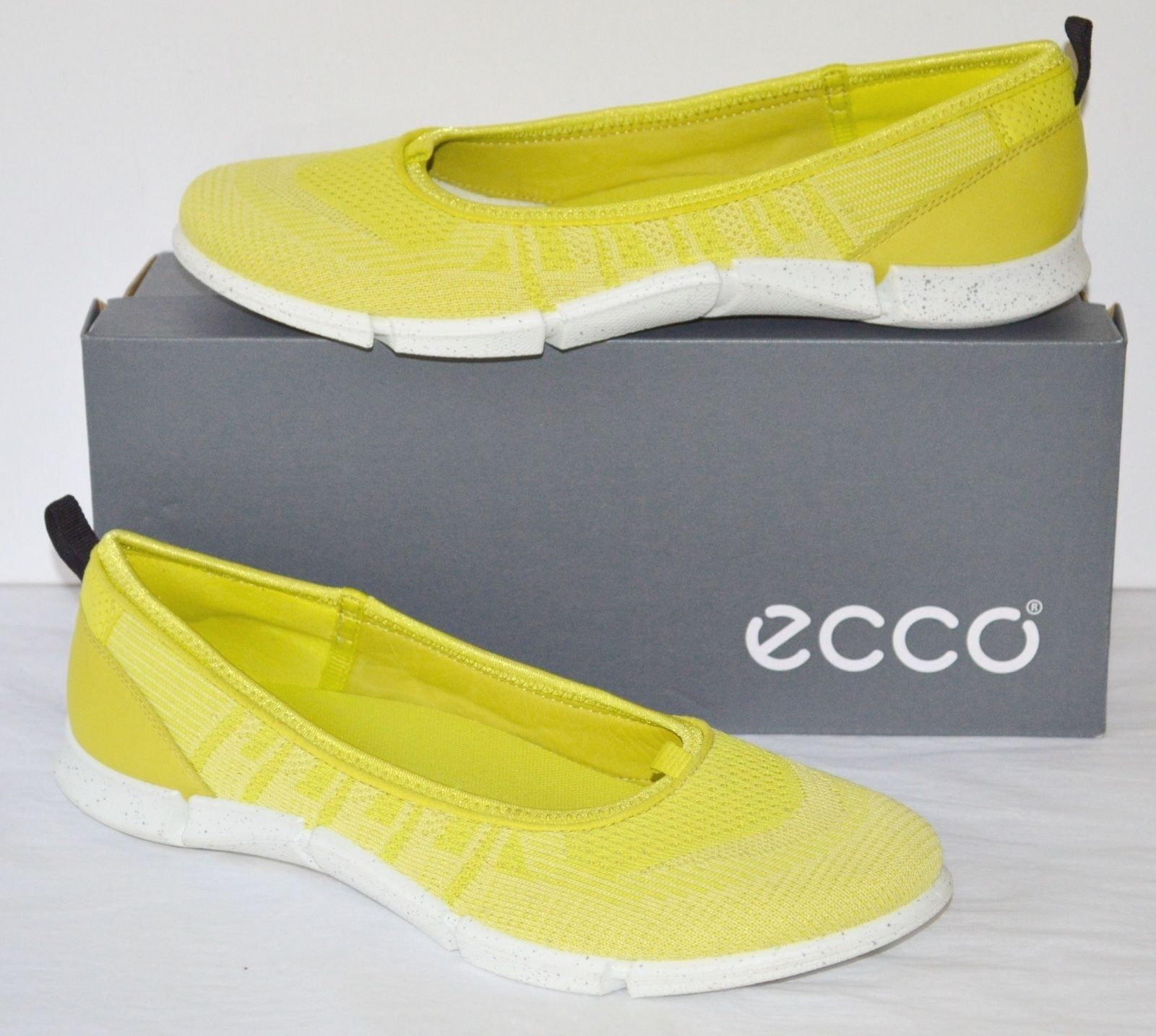 Ny  135 ECCO Intrinsic Karma Ballerina Sulphur Lemon Neon Neon Neon gul Slip on sz 10  fantastiska färgvägar