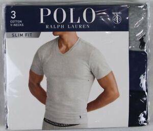 Ralph Lauren Polo 3 pack Grey Blue Slim Fit V-Neck T-shirts Tee NWT