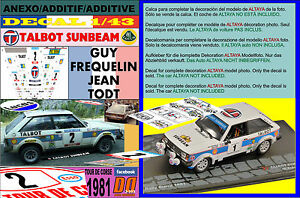 Anexo DECAL 1/43 Talbot Sunbeam Lotus Guy Frequelin Tour de Corse 1981 2nd (12)- 							 							ver título original - España - Anexo DECAL 1/43 Talbot Sunbeam Lotus Guy Frequelin Tour de Corse 1981 2nd (12)- 							 							ver título original - España