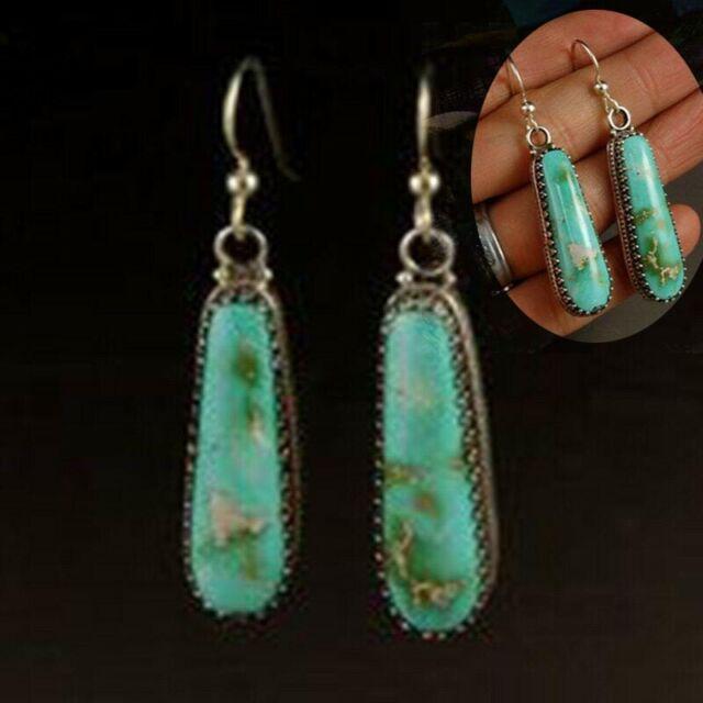Women 925 Silver Turquoise Dangle Hoop Drop Earrings Gemstone Jewelry