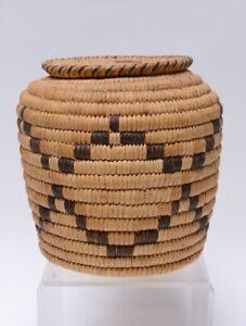 "Antique Papago Polychrome Basket Lidded Jar, Mid 20th Century, 7 3/4"" x 8"""